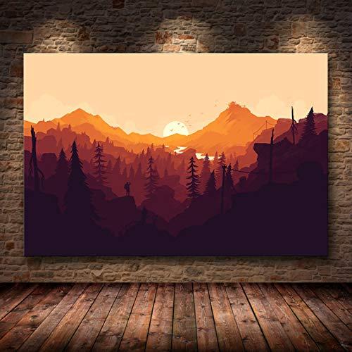 xmydeshoop Firewatch Videospiele Berge Minimalismus Wald Wandkunst Leinwand Spiele Poster Hd Print Home Decor Gemälde 50X70Cm (Xz-2943)
