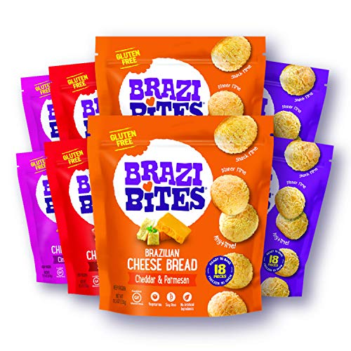 Brazi Bites Gluten-Free Brazilian Cheese Bread: Variety-Pack|VegetarianFrozen Bread Snacks|Soy-Free |No Artificial Ingredients|No Preservatives| 11.5 oz. pouches (8-pack)