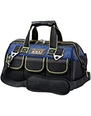 AIRAJ waterproof tool bag with adjustable shoulder strap, wide mouth men's tool bag, woodworking hand strap (blue and black)