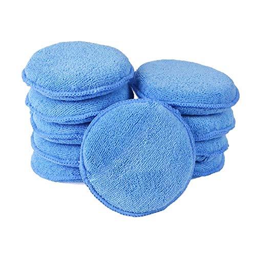 Coches limpios Microfibra aplicador y almohadillas de limpieza - 10pcs 5' diámetro de microfibra ultra suave con el dedo bolsillo pulimento del coche de cera Aplique removedor Buff Pad Limpie la sucie
