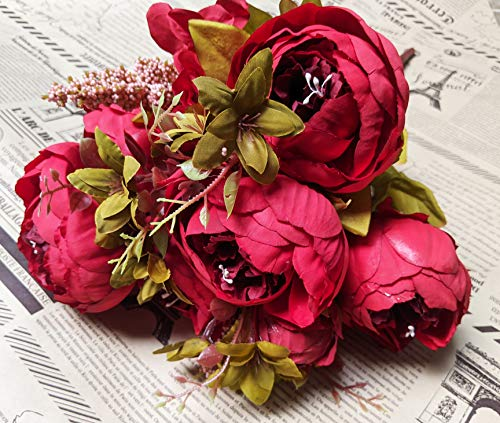 Euro Victorian Peony Rose Mauve Blush Peach Colorful Beautiful 8 Head Peony Bouquet Bush Open Roses Bundle Bridal Handmade Wedding Artificial Silk Flower Floral Home Office Decor (Ruby Red)