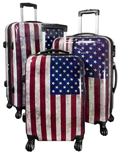 Trendyshop365 Hartschalen Rollkoffer Koffer-Set 3-teilig Bedruckt - Motiv USA Flagge - 4 Rollen Amerika