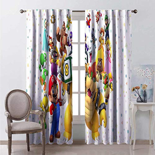 Darlene Harts White Black Out Insulation Curtains 40 Inches Long 3D Super Mario Background Small Window Curtains for Boys Room 55x40 Inch