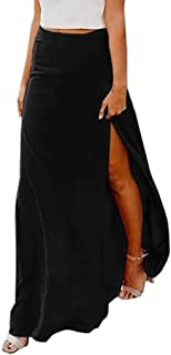 Women Sexy High Waist Chiffon Flowy Vintage Side Split Long Maxi Bottom Skirts