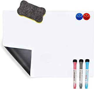 A3 Pizarra Magnética Pizarra Blanca para Notas, Tablero de Notas en la Oficina de la Cocina Doméstica con 3 Rotuladores, 2 Imanes Sonrientes y 1 Borrador