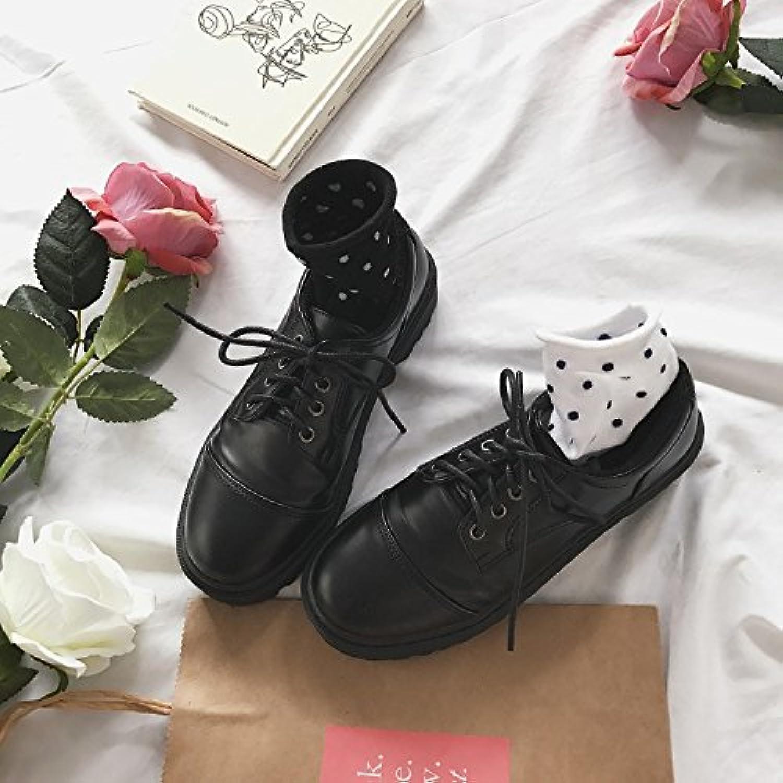 WYMBS Women's Autumn Winter Tie Round Head Leisure Martin Student Leather shoes,Black,39