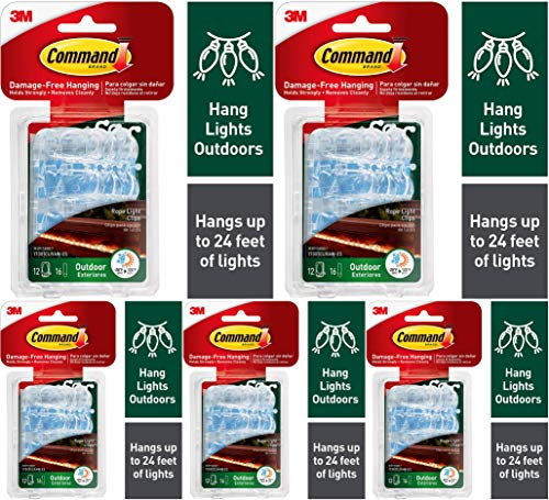 Command Outdoor Rope Light Clips, Clear (17301CLRAW-ES) 5 Pack
