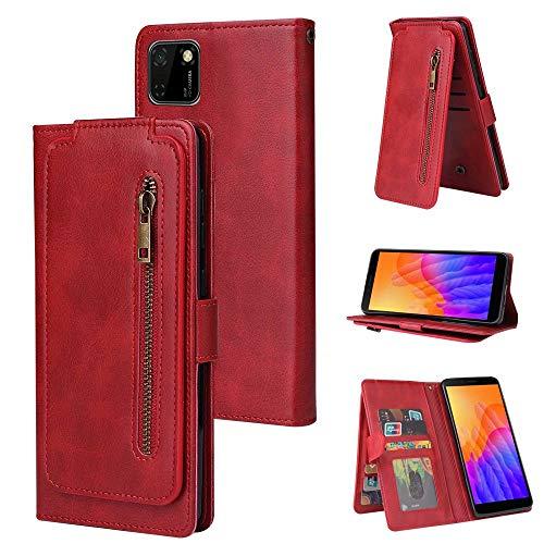 Miagon Reißverschluss Brieftasche Tasche Hülle für Huawei Y5P,Magnet Stand-Funktion Leder Schutzhülle Flipcase mit 9 Kartenfach und Handschlaufe,Rot