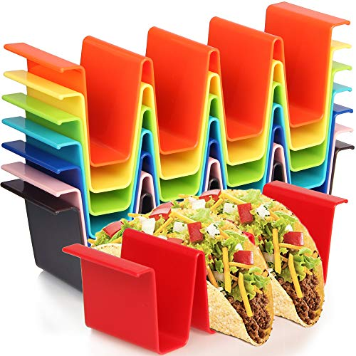 Youngever 8 Pack Plastic Taco Holder Stand, Dishwasher Top Rack Safe, Microwave Safe, Set of 8 Assorted Colors (Rainbow)