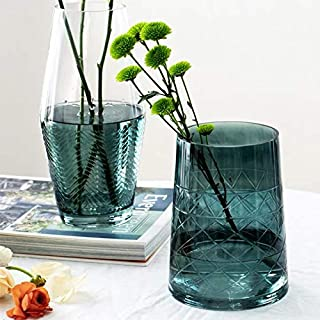 cyl home Hurricane Candleholder Translucent Turquoise Glass Flower Arrangement Vase with Carven Patterns Decor Table Centerpieces Accent for Dining Living Room Wedding Gift, 7.3`` H x 5.5`` D