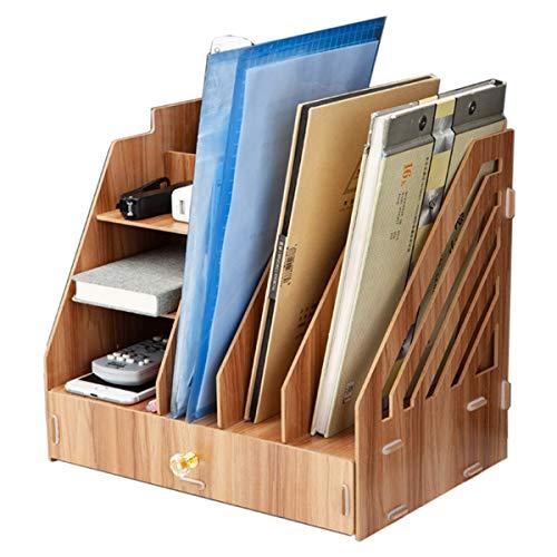 Großer Holzschreibtisch Organizer Aufbewahrung Mehrschichtiges Rack, Desktop-Dateisortiererhalter Box Schubladenfach für Notepad A4-Papiere Dokumente Bücher Desktop Stationäres Büromaterial Zubehör