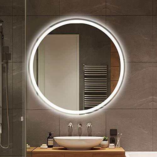 SXFYMWY Moderno LED Baño Espejo de Maquillaje Redondo Inteligente Solo Toque Antiniebla Montado en la Pared Luz de Doble Color Sin Marco HD Impermeable Espejo