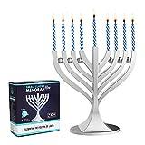 Zion Judaica Menorah Small Classic Satin Silver with 44 Blue White Mini Birthday Candles