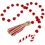 Christmas Wooden Bead Wreath with Tassels, Decorated with Candy Canes, Wood Bead Garland Wreath for Christmas Decorations, Farmhouse Wall Hanging Ornaments