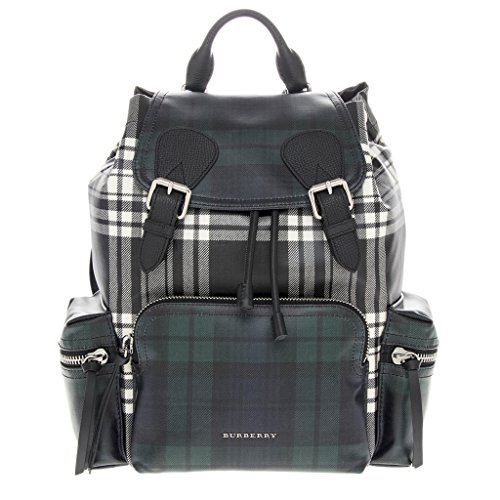 Burberry Unisex Leather Trim London Check Backpack Green