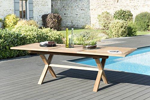 MACABANE 501221 Table rectangulaire Pieds croisés Extensible 180/240x100cm Couleur Naturelle en Teck Dimension 180/240cm X 100cm X 75cm