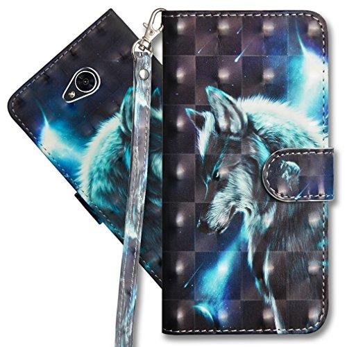 MRSTER LG Xpower 2 Handytasche, Leder Schutzhülle Brieftasche Hülle Flip Hülle 3D Muster Cover mit Kartenfach Magnet Tasche Handyhüllen für LG X Power 2. YX 3D - Wolf