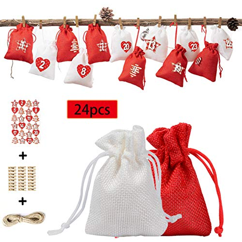 Why Choose GOTDCO. Christmas Gift Wrapping Bag,Pretty 24 Pcs Holiday Treat Pouch with Advent Calenda...