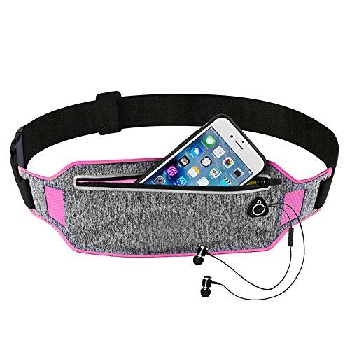 Yunhigh Sport Taille Packs Tasche, wasserdicht Laufgurt Hüfttasche leichte verstellbare Taillenbeutel für Radfahren Jogging Wandern Workout Fitness-Studio für iPhone Galaxy Android - rosig