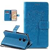 Kompatibel mit Huawei Honor 5X Hülle,Huawei Honor 5X Schutzhülle,Prägung Katze Schmetterlings Blumen PU Lederhülle Flip Hülle Handyhülle Ständer Tasche Wallet Hülle Schutzhülle für Huawei Honor 5X,Blau