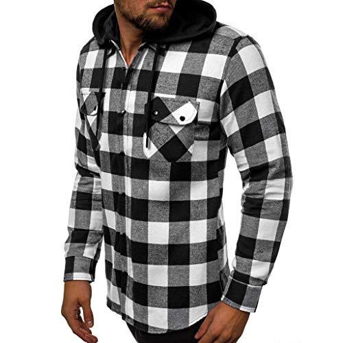 waotier Camisetas de Manga Larga Hombres Empalme Tartán Camisas con Capucha Ocio de Negocios Camisa de Manga Larga Retro Blusa Superior