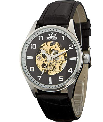 Sewor Lover's Automatik mechanische Leder-Armbanduhr für Damen (Black)