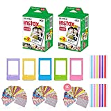 Fujifilm Instax Mini Instant Film (2 Pack, 40 Sheets) 5 Plastic Desk Frames + 60 Sticker Frames + 2 Packs Corner Stickers