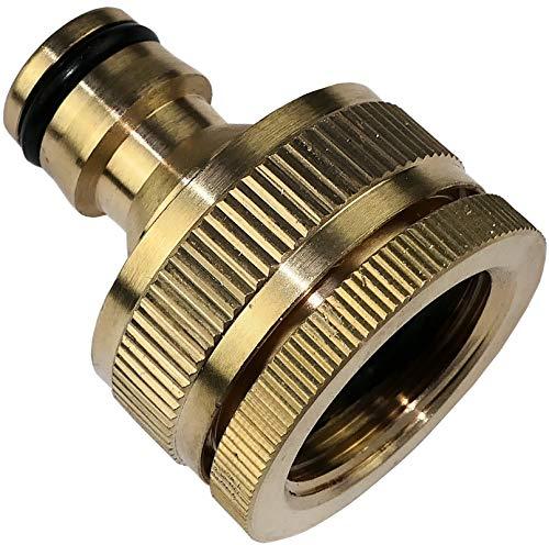 AERZETIX - Adaptador de Grifo 3/4''-1'' Lado Hembra y Lado Macho 1/2'' - conexión rápida de Manguera - Adaptador para Manguera de riego - Nariz del Grifo - Acero latón - C47452