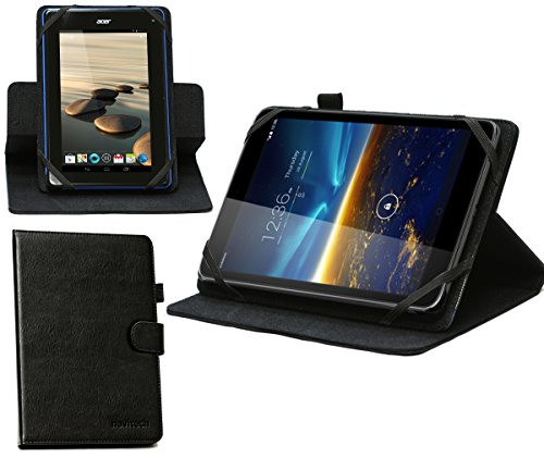 Navitech 8 Zoll schwarzes rotierbares Bicast Leder Case Cover für das Odys Pro Q8