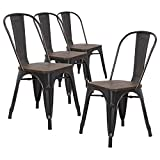 LCH Industrial Metal Dining Chairs, Set of 4 Vintage Wood Top Indoor Outdoor Stackable Bistro Cafe Chairs with Back, Sanded Black