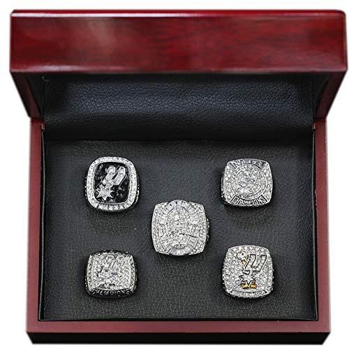 Fei Fei 1999 2003 2005 2007 2014 San Antonio Spurs Championship Ring Set Anillos de Hombre, Championship Anillo de réplica Personalizado Anillos de Diamantes para Hombres,with Box 11