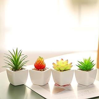 いい生活 4点セット 人工多肉植物 ミニ 植物鉢植え 枯れない 白い正方形の植木鉢 観葉植物 室内 ホーム 庭 装饰 デコレーション (セラミックの植木鉢 B)