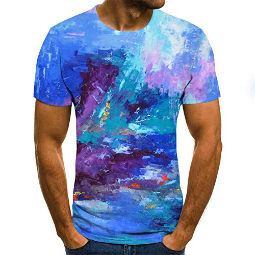 HUITAILANG Camisetas Hombre Gráfico 3D, Camisetas Divertidas, Graffiti, Manga Corta, Talla Grande, Suelta, Azul, Grande