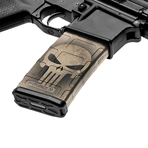 GunSkins AR-15 Mag Skin - Premium Vinyl Mag Wrap with Precut Pieces - Easy to Install and Fits 30rd Magazines - 100% Waterproof Non-Reflective Matte Finish - Made in USA - GS Skull Tan