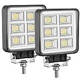 LED Tractor Lights 2 Pcs 4 Inch Flood 12V Square LED Driving Work Lights for Truck Equipment Vehicle Off Road Backup Boat