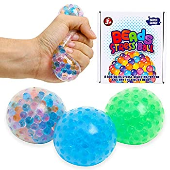 Lemostaar 3 Set Water Beads Stress Relief Squeezing Balls for Kids and Adults  Best Calming Tool to Relieve Anxiety Vent Mood and Improve Focus Soft Novelty Hand Grip Pressure Ball