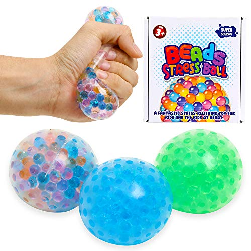 3 Set Water Beads Stress Relief Squeezing Balls for Kids and Adults: Ideal Calming Tool to Relieve Anxiety, Vent Mood and Improve Focus, Soft Novelty Hand Grip Pressure Ball