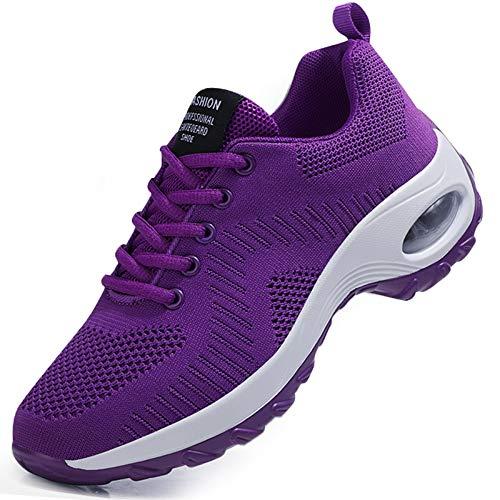[YENFESH] スニーカー レディース 厚底 軽量 ランニングシューズ ウォーキングシューズ ジョギングシューズ スポーツシューズ ランニングしゅーず レディース運動靴甲高 メッシュ クッション性 防滑 通気 滑り止ジ 紫の 24.5cm