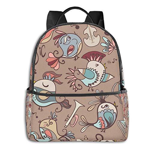 TYHG Unisex Double Shoulder School Backpack 3d Bird Sing Songs Large Capacity Bookbag Laptop Bag