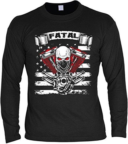 Goodman Design ® Herren Langarmshirt für Biker: Fatal - Geschenkidee - Geburtstag - Motorrad - Bikerkleidung - schwarz