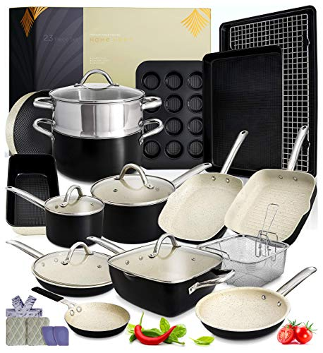 Kitchen Pots and Pans Set  23pc Kitchen Cookware Sets Induction Pots and Pans for Cooking Set Induction Cookware with Frying Pans Nonstick Pan Set Pot and Pan Set Pot Set Non Sticking Pan Set Kitchen