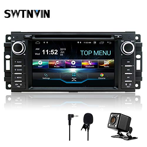 SWTNVIN Android 10.0 Car Stereo Navigation for Jeep Wrangler Dodge Chrysler 2GB RAM 32GB ROM HD Touch Screen Multimedia Indash DVD Player Support GPS Bluetooth WiFi teering Wheel with Backup Camera