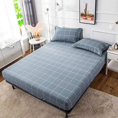 GUANLIDE Laken,Spannbetttücher aus Baumwolle, Doppelbett aus flachem Laken, Tagesdecke aus Köper für den Schlafsaal für Mädchen. Dunkelblaues, Kariertes Bett (180 * 200 cm)