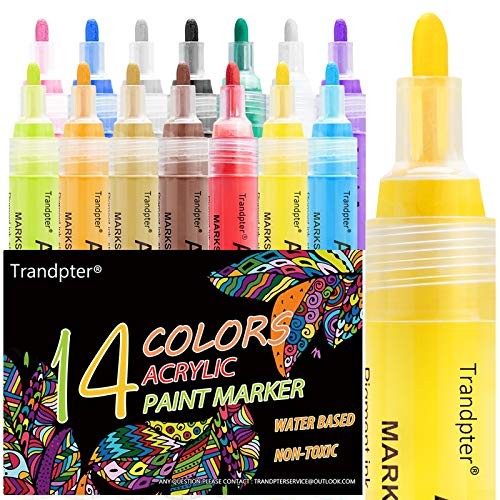 Paint Pens for Rock Painting, Acrylic Paint Markers, Acrylic Pen Medium Point for Craft, Canvas Wood Ceramic Mugs and More, 14 Colors Art Supplies