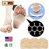 Tampons métatarsiens, coussin de pied de boule (6 PCS), NOUVEAU MATÉRIEL, Pads de l'avant-pied, respirant et gel mou, meilleur pour les pieds diabétiques, callus, boursouflures.