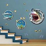 ufengke Stickers Muraux Effet 3D Requin Autocollants Mural Poisson sous la Mer pour Chambre Enfants Garçon Bébé Pépinière Salon Décoration Murale