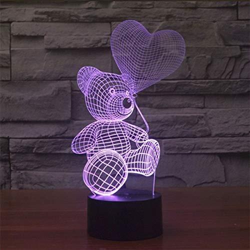 Sorpresa antes de Navidad 3D LED Globo de luz nocturna Oso de peluche Amor Figura de acción Toque Navidad Luz nocturna inteligente