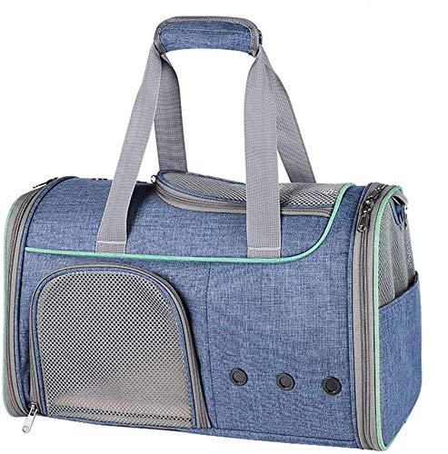 Kaliove Transportín para Mascotas para Gatos Perros pequeños Mochila transportadora de Viaje para Gatos Aprobada por la aerolínea Debajo del Asiento para Viajar y Caminar,Azul