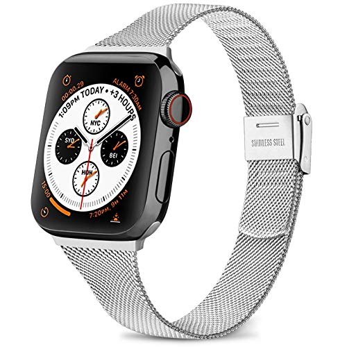Wanme Strap Compatible with Apple Watch Strap 44mm 42mm 40mm 38mm, Slim Narrow Stainless Steel Metal buckle Replacement Strap for iWatch Series 5 4 3 2 1 (03 Silver, 38mm/40mm)
