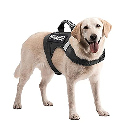 Pawaboo Service Dog Vest Harness, Premium Durable Heavy Duty Soft Padded Reflective Dog Vest Harness with 2 Removable Hook and Loop Patches, Strong PVC Handle on Top